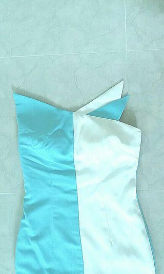 Custom Design Origami Mermaid Dress in Light Blue & White