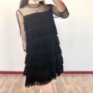 🚚 全新 黑色透膚婚禮小洋裝 流蘇 網紗 睫毛