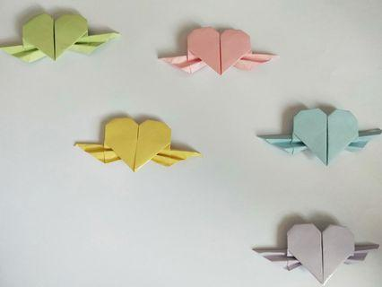 Origami heart with wings (mini)