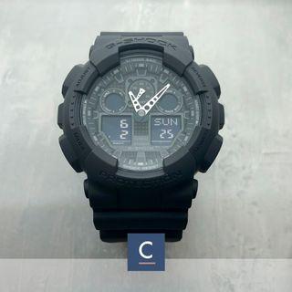 🚚 🔴GSS🔴[✅FREE Shipping]: ✅💯Authentic Casio Matt Black G-Shock Extra Large Series GA100-1A1 Watch - Resin Strip