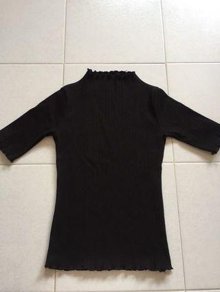 black ribbed top