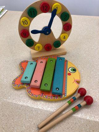 Xylophone and wooden clock