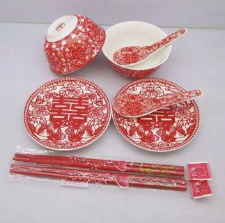 Wedding plates and bowls with chopsticks