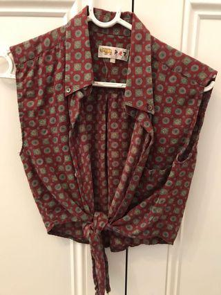 Vintage style Button up tie top