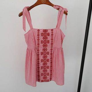 Red plaid embroidered checkered cotton blend shirred ribbon strap girls top/H&M /Zara/Forever 21