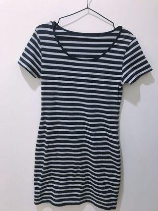 🚚 Lativ條紋洋裝#灰.深藍色條紋洋裝#材質舒服