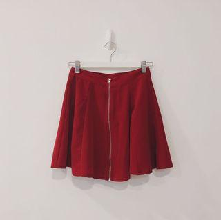 Bershka Maroon Zippered Skater Skirt