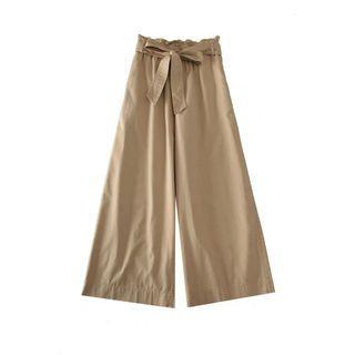 Basic pleats ribbon wide leg Culottes in beige /Trousers/Zalora