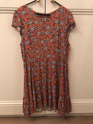 Floral Burnt Orange Dress