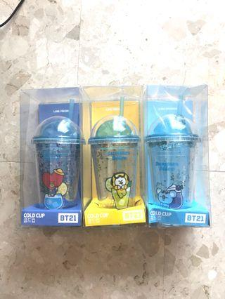 <INSTOCK> BT21 Glitter Cold Cup with Straw