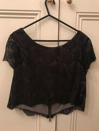 Neuw Black Lace Cropped Top