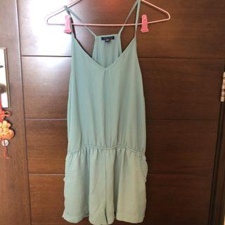 UK2LA seafoam green romper playsuit jumpsuit with pockets 藍綠色連體衣 連身褲