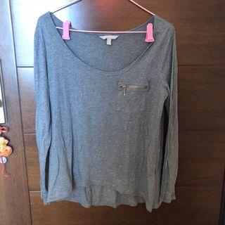 Banana republic long sleeved top with gold zipper detailing 灰色長袖上衣 金色拉鍊裝飾