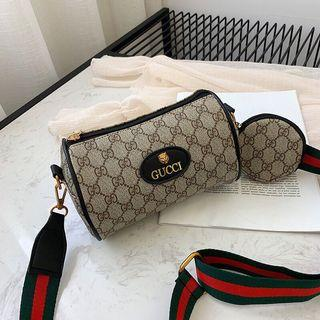 Gucci-立體老虎Logo 皮標 小型圓筒包、側背包、全防刮皮革大容量