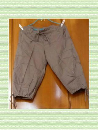 棕色束繩七分闊腳褲