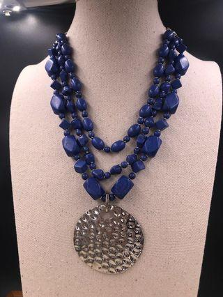出口歐美 人造首飾 -  仿青金石頸錬 (EXPORT Europe / USA Fashion Jewellery Metal Necklace With Imitation Lapis) About 48cm with extension chain 7cm