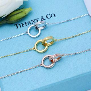 Tiffany 蒂芙尼 新款 二合一環 交叉 吊墜 光面項鏈