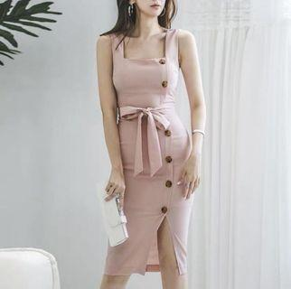 Pink Square neck button slit midi dress