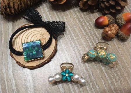 {🎁超值加購$190}♥️正韓 花朵珍珠抓夾、金箔翠綠抓夾、墨綠暈染髮圈🈴️售