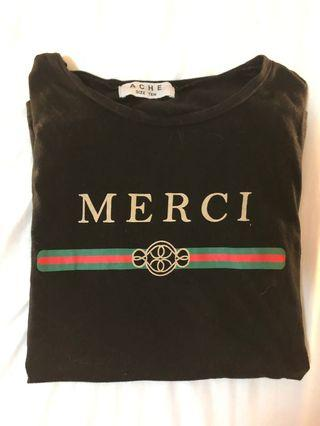 Merci Black Tee