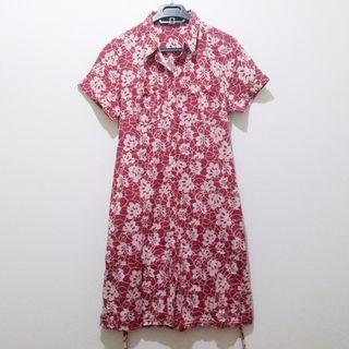 Vintage Red Flower Tied Shirt Dress Bunga Tali Pinggang Brand Point One Kemeja Busui Full Kancing #maugopay #joinjuli