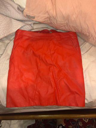 Bardot red leather skirt