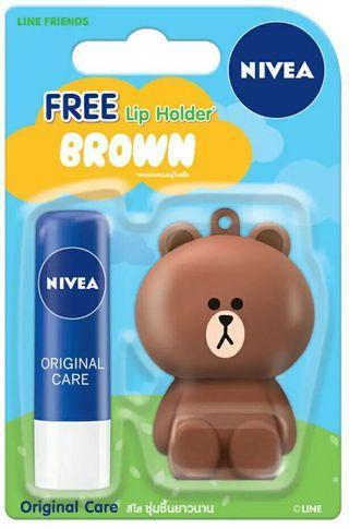 Nivea Lip Balm + Brown Holder
