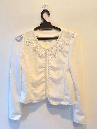 Flowery Beaded Jacket (Off White)     #Style