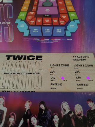 TWICE lightszone standing tickets