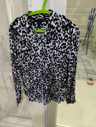 Zara black white hitam putih corak blouse kemeja