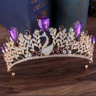 🆕新娘鳳凰紫色閃石皇冠 Wedding Purple rhinestone Phoenix Crown