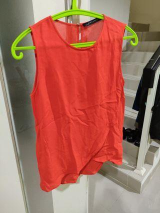 Zara merah blouse top atasan sleveless