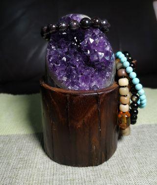 天然烏拉圭紫晶簇根雕底座(帶晶花)清磁增能量