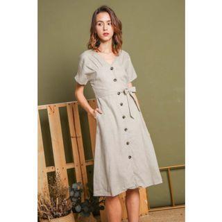 Buttons Beguile Linen Midi Shirt Dress Sand (L)