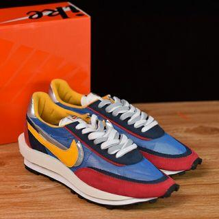 Sacai x Nike LVD Waffle Daybreak 聯名走秀款 網紗皮面拼接 雙勾Swoosh跑步鞋