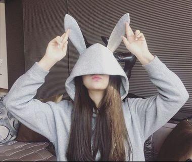 🚚 兔耳朵帽T-灰