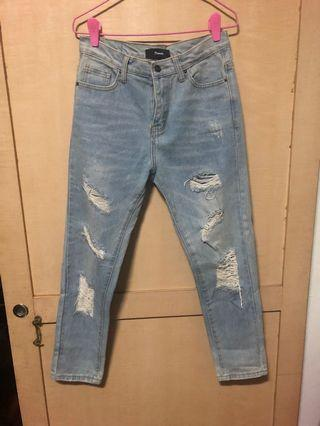POMELO- Distressed mum jeans