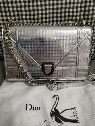 Christian Dior Diorama Medium Flag Bag (Metallic Silver)