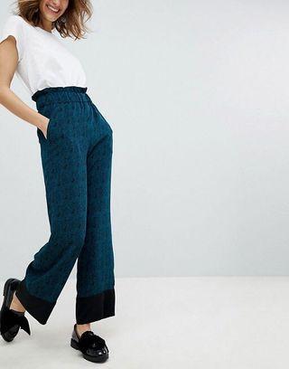 Monki High Waisted Bird Print Trousers