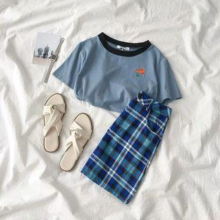 [PO] 2019 korean summer style blue flower top and checkered skirt set