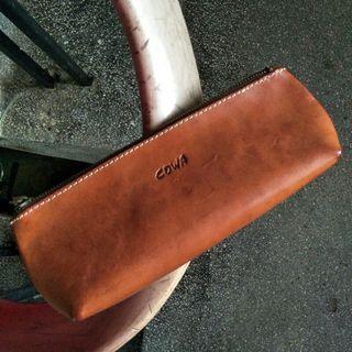 🚚 COWA JAPAN 焦糖 牛皮 筆袋