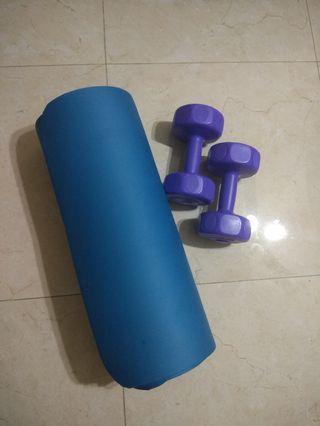 🚚 Yoga Mat and Dumble pair (3 KG)