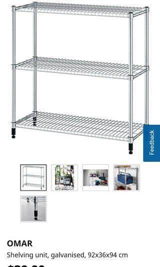 IKEA stainless steel Kitchen Rack and Clip on basket