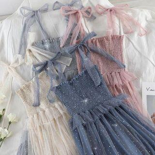 [PO] bow strap fairy mesh dress