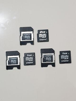 Mini SD Cards with Adapters (1×2GB & 2×1GB)