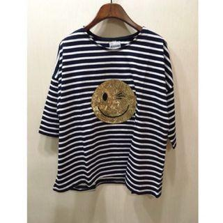 🎁超值加購$390~正韓😊亮片五分袖條紋上衣 (藍)XL