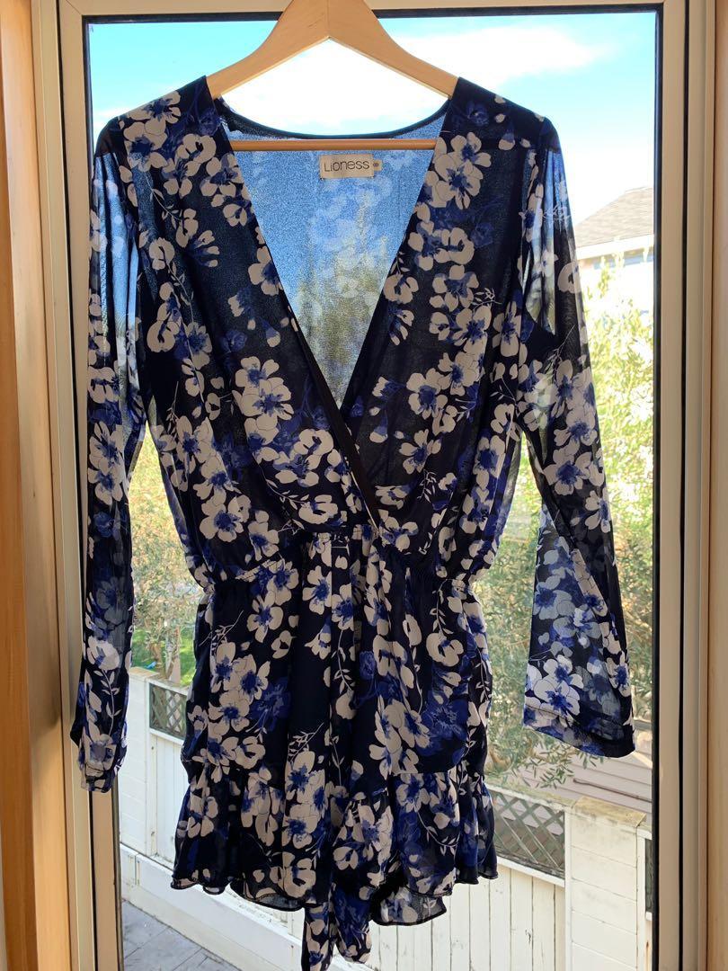 Blue flower print jumpsuit