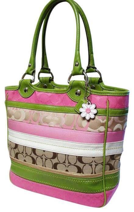 Coach Bleecker Patchwork Pink-Green-Khaki Stripe Signature Daisy