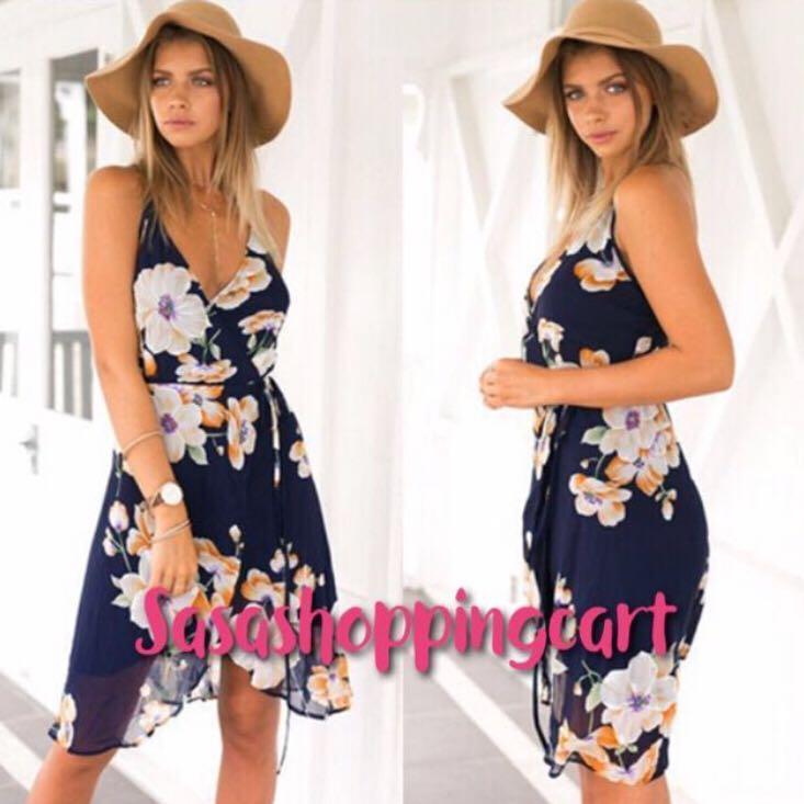(Floral) Summer Large Colorful Classic Print Sling Ramp Irregular Chiffon Skirt