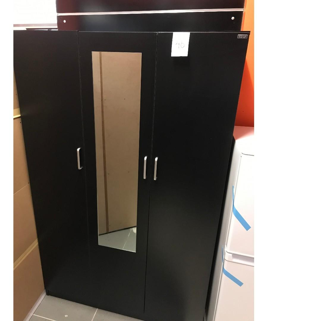 Free Delivery and Assembly! 3 Door Combo Wardrobe(BLACK/WHITE) at $380